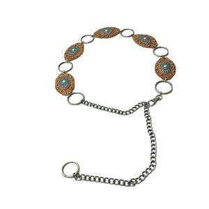 womens Brown Leather Western Belt Chain Conchos